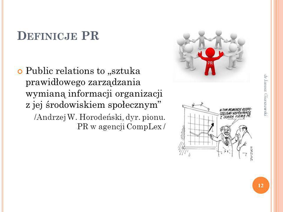 D EFINICJE PR Public relations to sztuka prawidłowego zarządzania wymianą informacji organizacji z jej środowiskiem społecznym /Andrzej W. Horodeński,