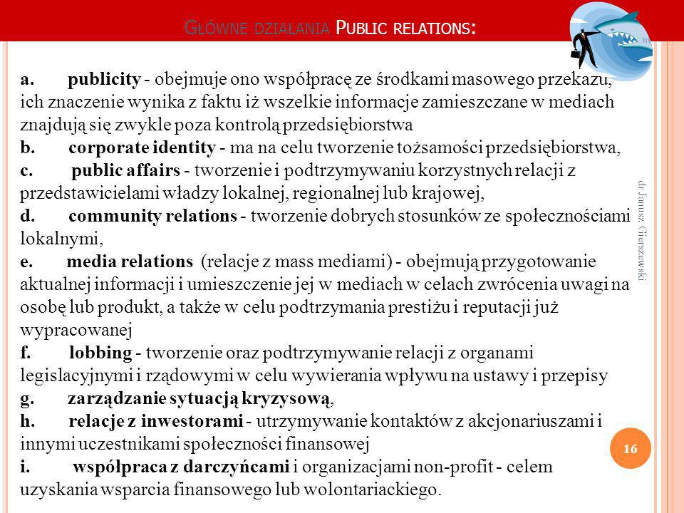G ŁÓWNE DZIAŁANIA P UBLIC RELATIONS : a. publicity - obejmuje ono współpracę ze środkami masowego przekazu, ich znaczenie wynika z faktu iż wszelkie i