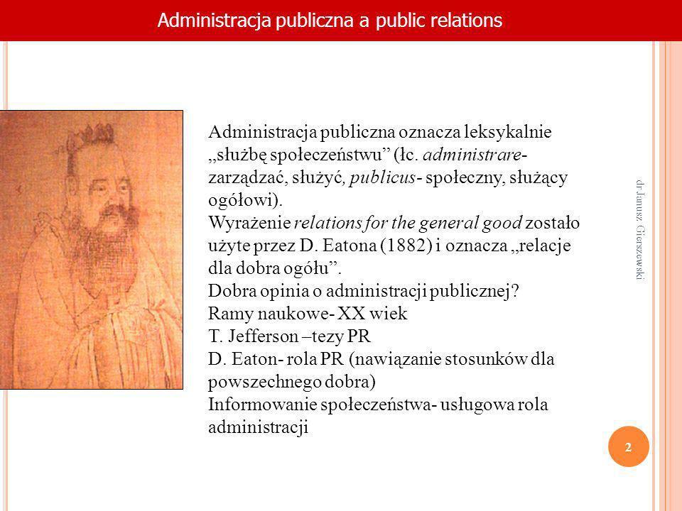 NagłówekAdministracja publiczna a public relations Administracja publiczna oznacza leksykalnie służbę społeczeństwu (łc. administrare- zarządzać, służ