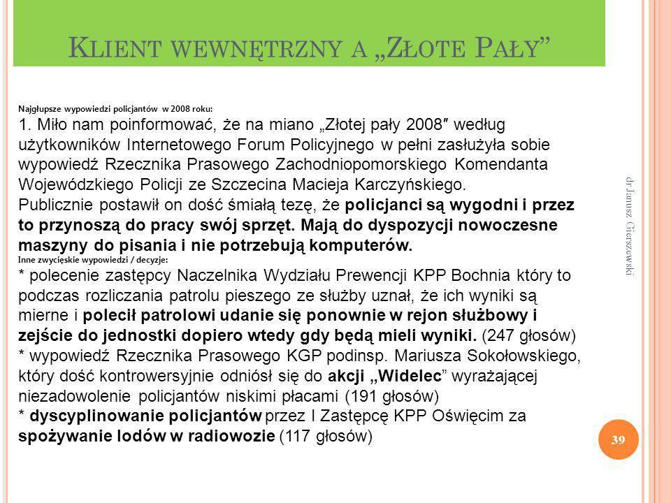 K LIENT WEWNĘTRZNY A Z ŁOTE P AŁY 39 dr Janusz Gierszewski Najgłupsze wypowiedzi policjantów w 2008 roku: 1. Miło nam poinformować, że na miano Złotej