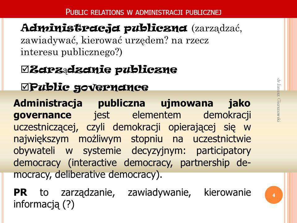 P UBLIC RELATIONS W ADMINISTRACJI PUBLICZNEJ Administracja publiczna ujmowana jako governance jest elementem demokracji uczestniczącej, czyli demokrac