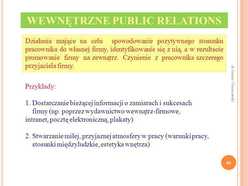 WEWNĘTRZNE PUBLIC RELATIONS Działania mające na celu spowodowanie pozytywnego stosunku pracownika do własnej firmy, identyfikowanie się z nią, a w rez