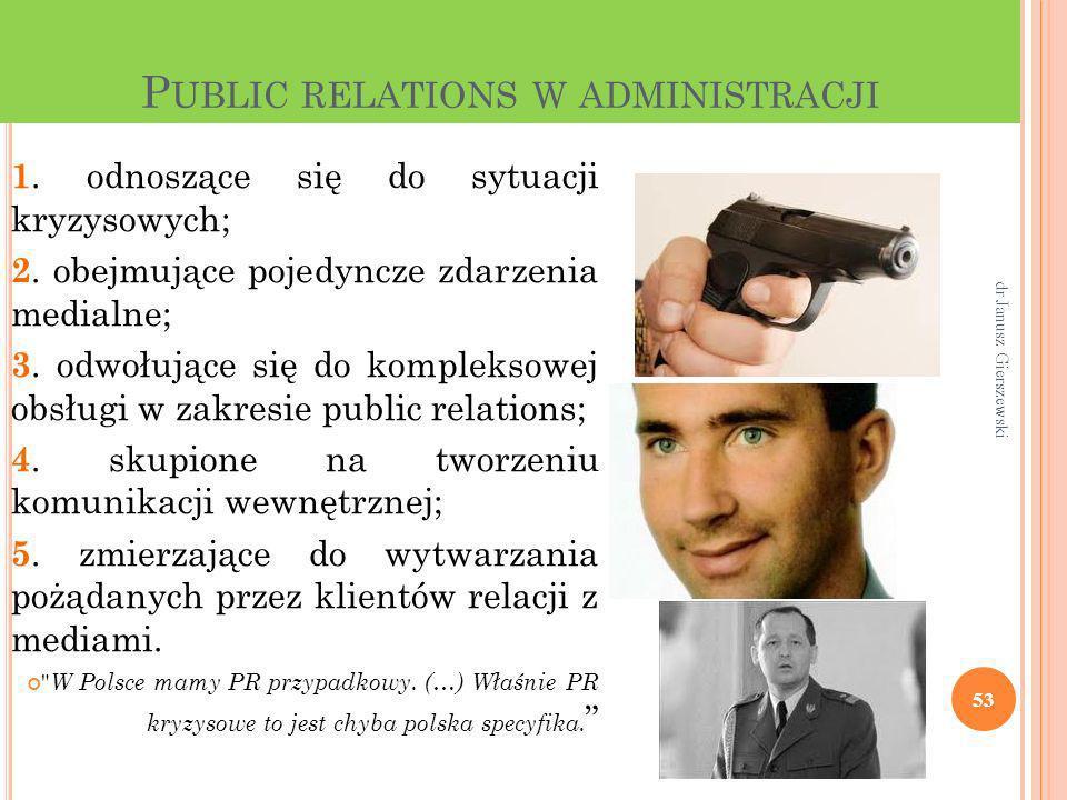 P UBLIC RELATIONS W ADMINISTRACJI 1. odnoszące się do sytuacji kryzysowych; 2. obejmujące pojedyncze zdarzenia medialne; 3. odwołujące się do kompleks