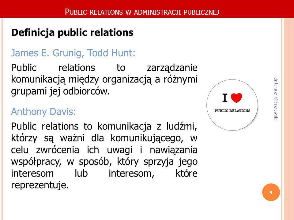 dr Janusz Gierszewski 20 Administracja publiczna (w tym Policja) jest specyficznym sektorem działalności public relations (dalej PR), które działania są najczęściej zawężone do powołania funkcji rzecznika prasowego.