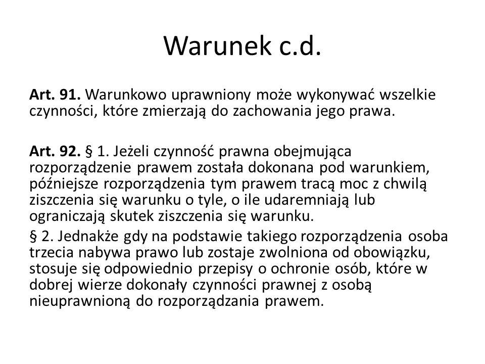 Warunek c.d.Art. 91.