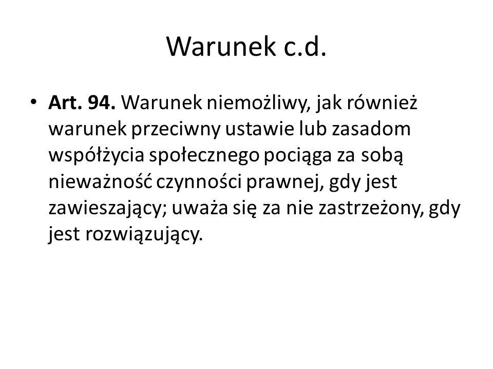 Warunek c.d.Art. 94.