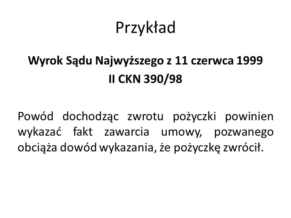 Przykład Wyrok Sądu Najwyższego z 11 czerwca 1999 II CKN 390/98 Powód dochodząc zwrotu pożyczki powinien wykazać fakt zawarcia umowy, pozwanego obciąża dowód wykazania, że pożyczkę zwrócił.