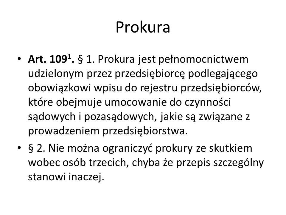 Prokura Art.109 1. § 1.