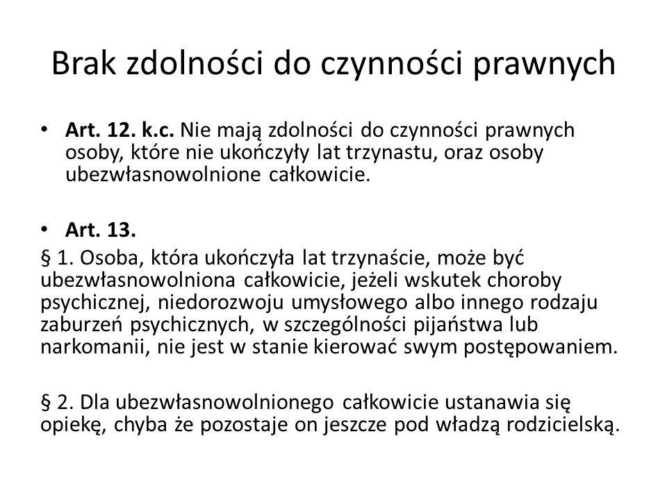 Brak zdolności do czynności prawnych Art.12. k.c.