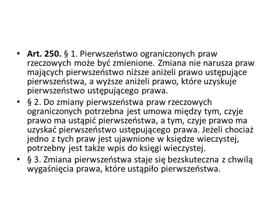 Art.250. § 1. Pierwszeństwo ograniczonych praw rzeczowych może być zmienione.