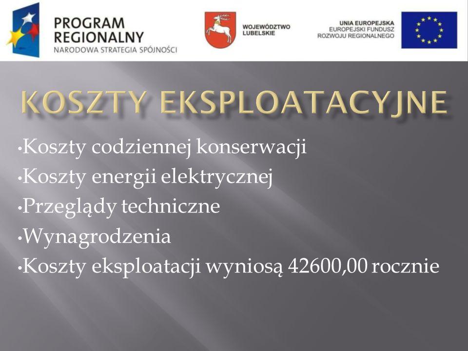 Koszty codziennej konserwacji Koszty energii elektrycznej Przeglądy techniczne Wynagrodzenia Koszty eksploatacji wyniosą 42600,00 rocznie
