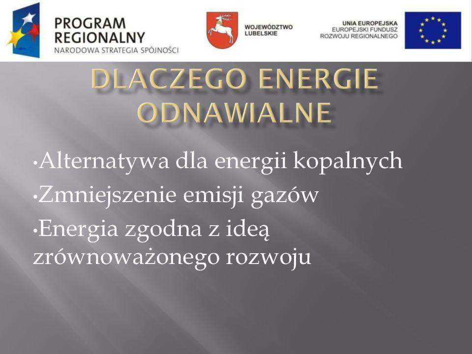 Alternatywa dla energii kopalnych Zmniejszenie emisji gazów Energia zgodna z ideą zrównoważonego rozwoju