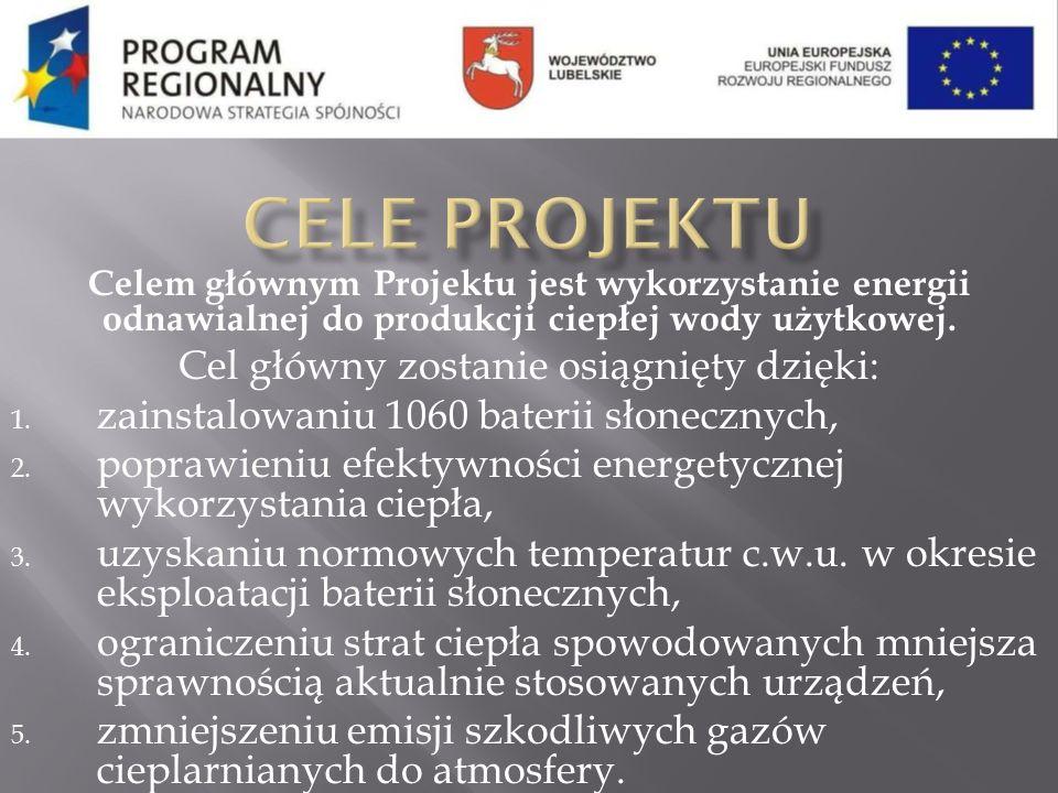 Celem głównym Projektu jest wykorzystanie energii odnawialnej do produkcji ciepłej wody użytkowej. Cel główny zostanie osiągnięty dzięki: 1. zainstalo