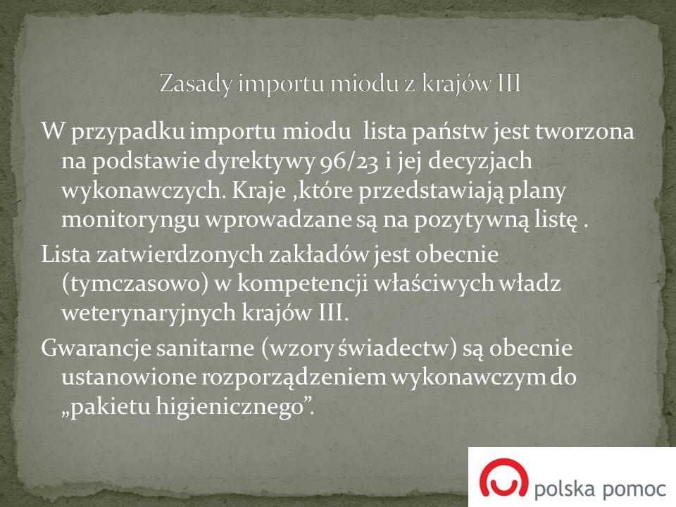 W przypadku importu miodu lista państw jest tworzona na podstawie dyrektywy 96/23 i jej decyzjach wykonawczych. Kraje,które przedstawiają plany monito