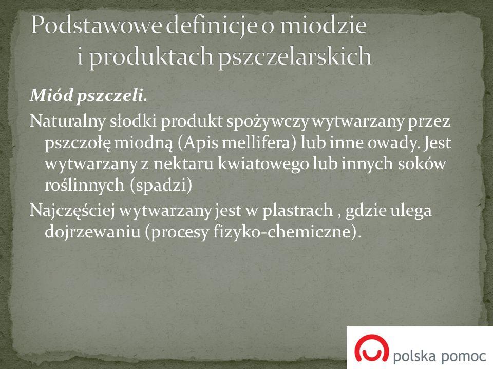 Wyróżniamy następujące rodzaje miodu Miody nektarowe Miody spadziowe Miody mieszane Miód może mieć konsystencję płynną (potoka) lub stałą (krupiec) i barwę od jasnożółtej do brunatno-brązowej.