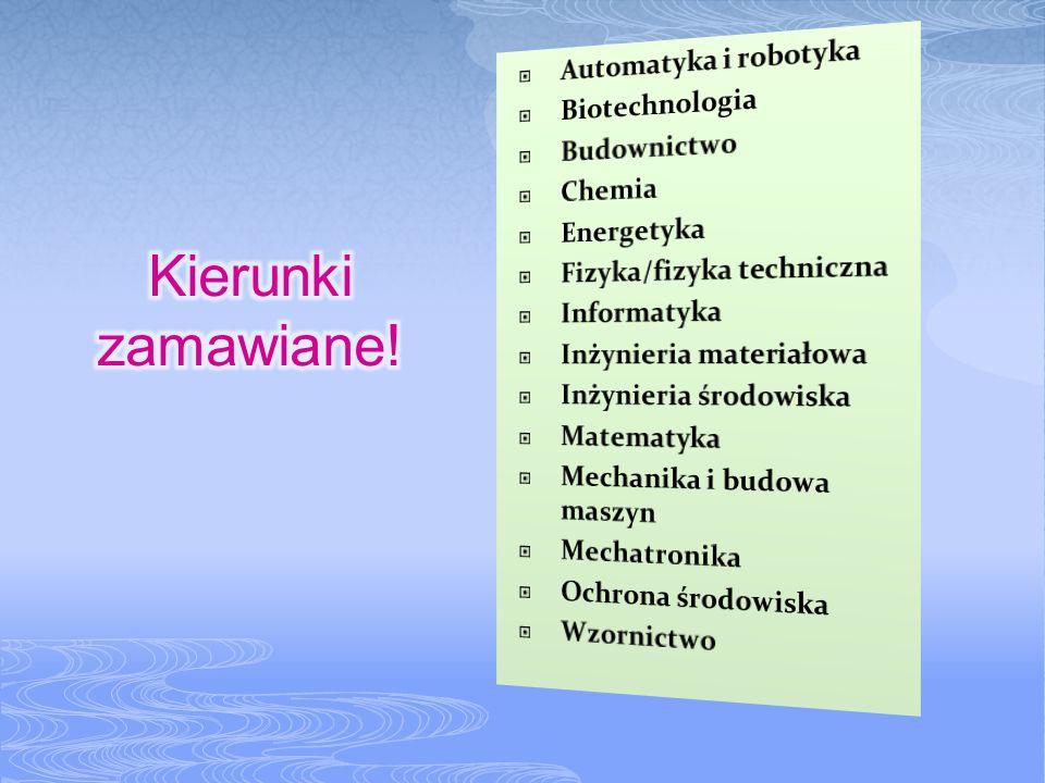 Do kierunków zamawianych w 2011/2012 dołączyły: Energetyka jądrowa; Analityka gospodarcza; Elektronika i telekomunikacja; Zaawansowane materiały i nanotechnologie; Inżynieria gospodarcza i wodna; Technologie ochrony środowiska;