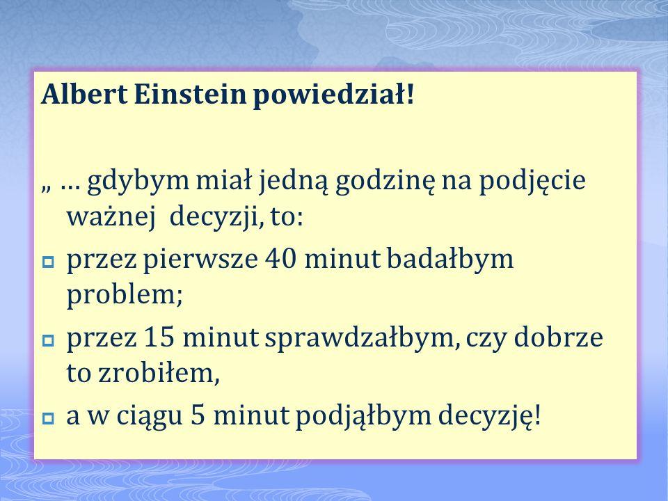 Albert Einstein powiedział! … gdybym miał jedną godzinę na podjęcie ważnej decyzji, to: przez pierwsze 40 minut badałbym problem; przez 15 minut spraw