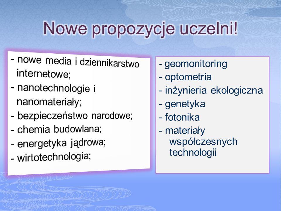 - geomonitoring - optometria - inżynieria ekologiczna - genetyka - fotonika - materiały współczesnych technologii