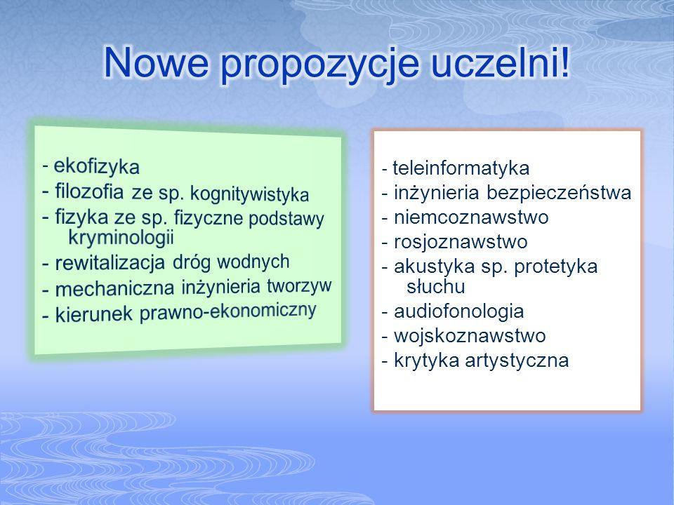 - teleinformatyka - inżynieria bezpieczeństwa - niemcoznawstwo - rosjoznawstwo - akustyka sp. protetyka słuchu - audiofonologia - wojskoznawstwo - kry