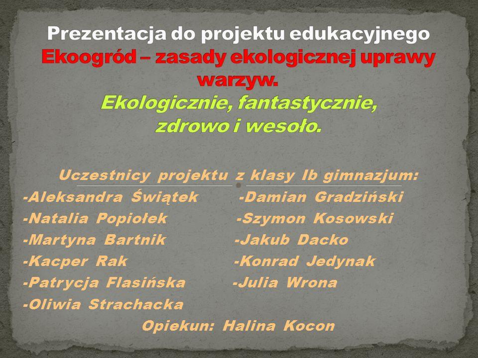 Uczestnicy projektu z klasy Ib gimnazjum: -Aleksandra Świątek -Damian Gradziński -Natalia Popiołek -Szymon Kosowski -Martyna Bartnik -Jakub Dacko -Kac