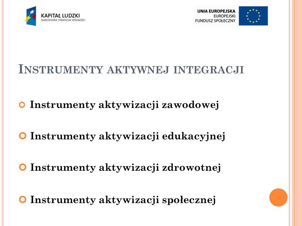 I NSTRUMENTY AKTYWNEJ INTEGRACJI Instrumenty aktywizacji zawodowej Instrumenty aktywizacji edukacyjnej Instrumenty aktywizacji zdrowotnej Instrumenty aktywizacji społecznej