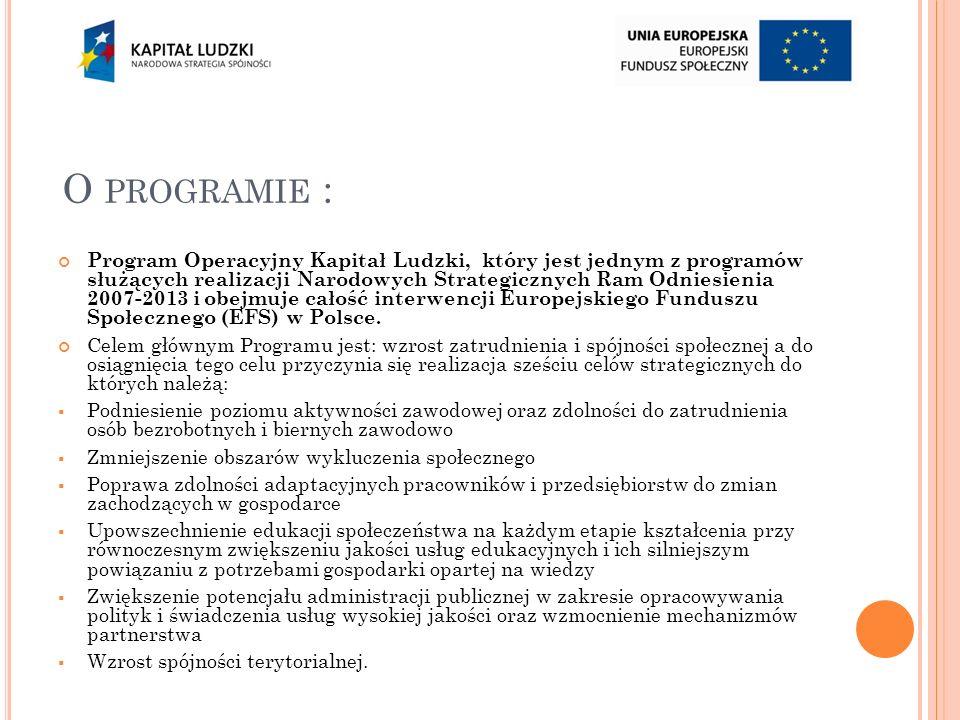 O PROGRAMIE : Program Operacyjny Kapitał Ludzki, który jest jednym z programów służących realizacji Narodowych Strategicznych Ram Odniesienia 2007-2013 i obejmuje całość interwencji Europejskiego Funduszu Społecznego (EFS) w Polsce.
