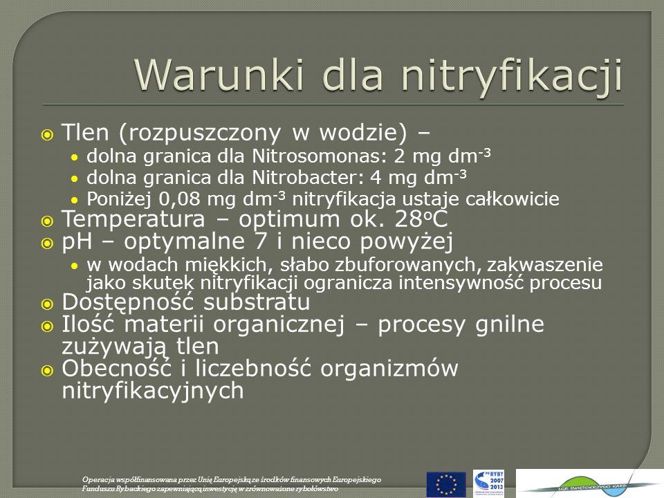 Tlen (rozpuszczony w wodzie) – dolna granica dla Nitrosomonas: 2 mg dm -3 dolna granica dla Nitrobacter: 4 mg dm -3 Poniżej 0,08 mg dm -3 nitryfikacja