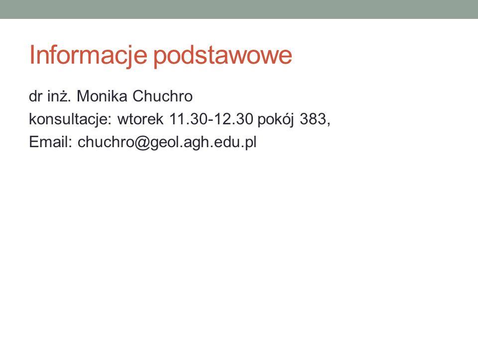 Informacje podstawowe dr inż. Monika Chuchro konsultacje: wtorek 11.30-12.30 pokój 383, Email: chuchro@geol.agh.edu.pl
