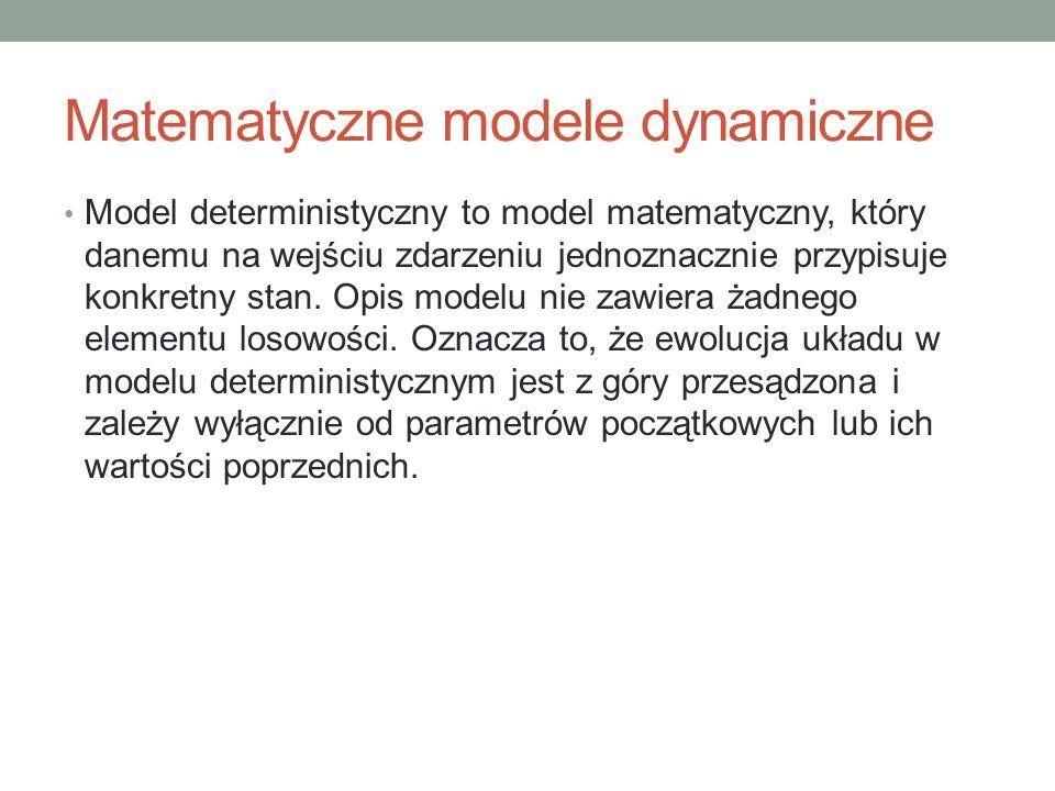 Matematyczne modele dynamiczne Model deterministyczny to model matematyczny, który danemu na wejściu zdarzeniu jednoznacznie przypisuje konkretny stan