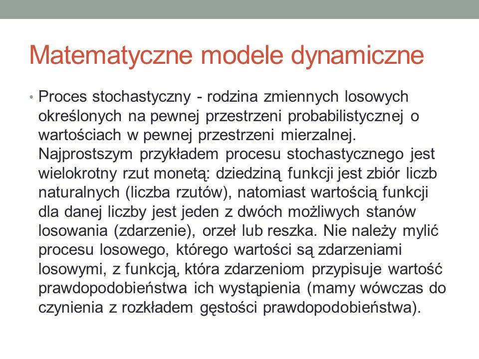 Matematyczne modele dynamiczne Proces stochastyczny - rodzina zmiennych losowych określonych na pewnej przestrzeni probabilistycznej o wartościach w p
