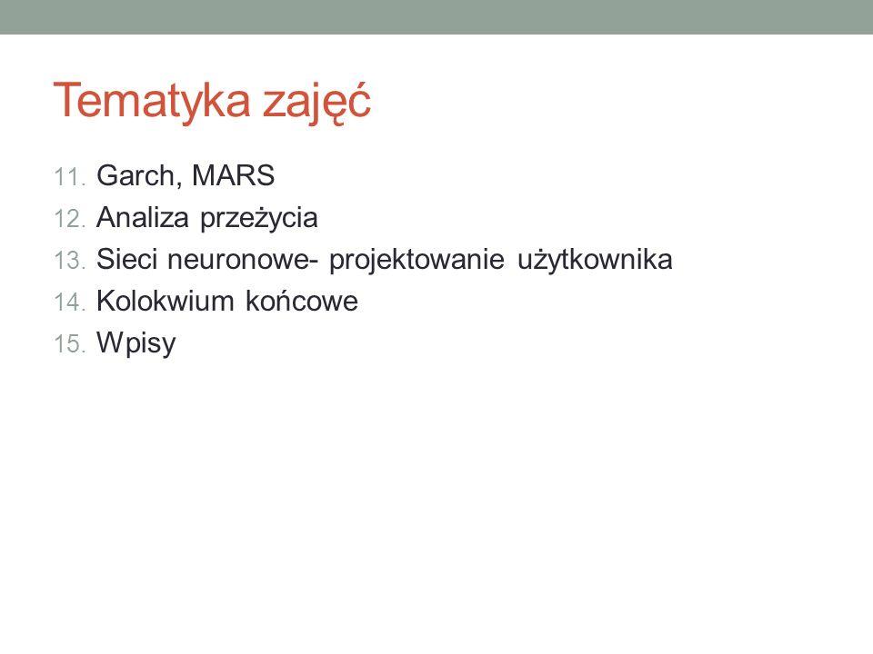 Tematyka zajęć 11. Garch, MARS 12. Analiza przeżycia 13. Sieci neuronowe- projektowanie użytkownika 14. Kolokwium końcowe 15. Wpisy