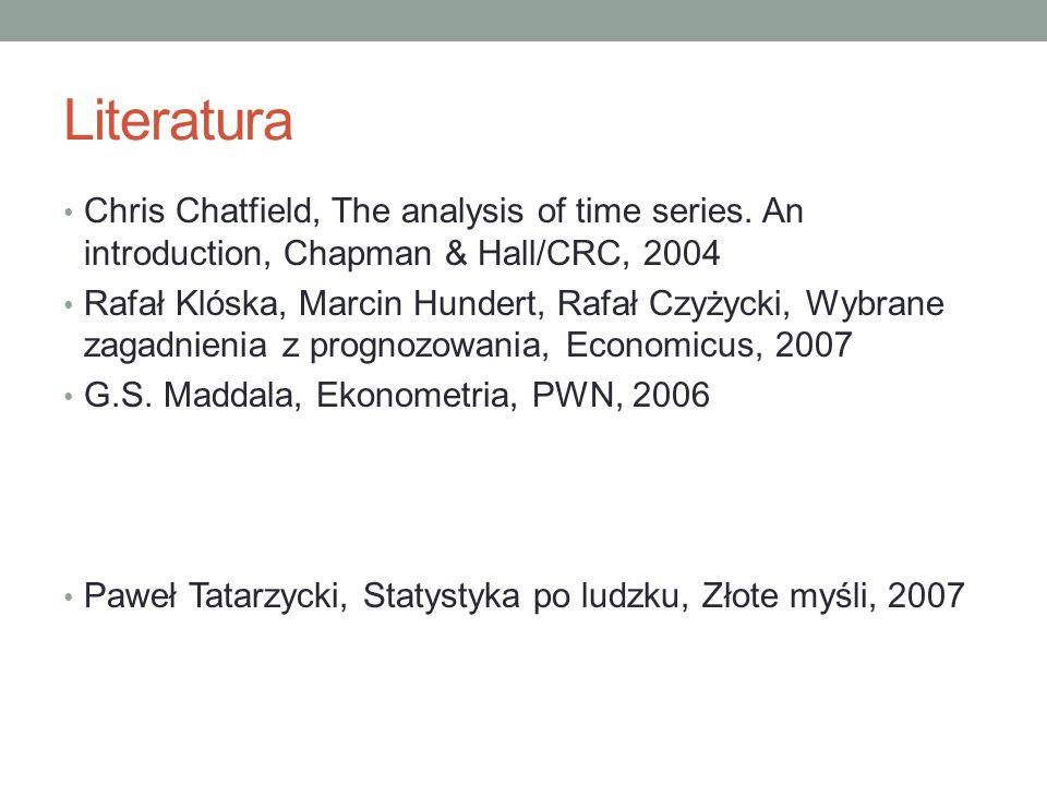 Literatura Chris Chatfield, The analysis of time series. An introduction, Chapman & Hall/CRC, 2004 Rafał Klóska, Marcin Hundert, Rafał Czyżycki, Wybra