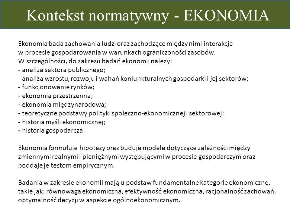 Kontekst normatywny - EKONOMIA Ekonomia bada zachowania ludzi oraz zachodzące między nimi interakcje w procesie gospodarowania w warunkach ograniczono