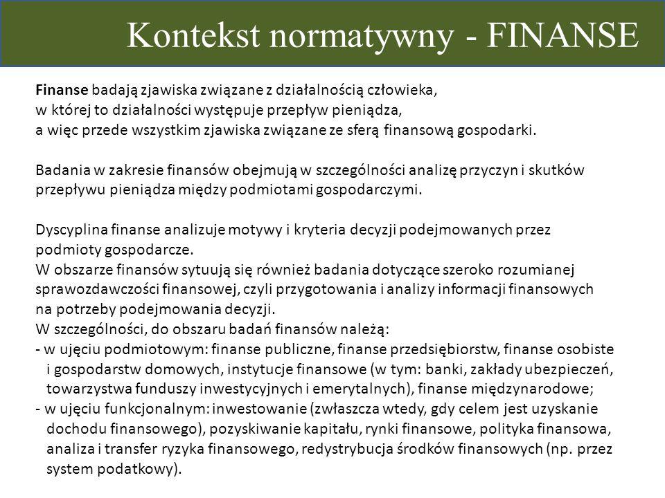 Kontekst normatywny - FINANSE Finanse badają zjawiska związane z działalnością człowieka, w której to działalności występuje przepływ pieniądza, a wię