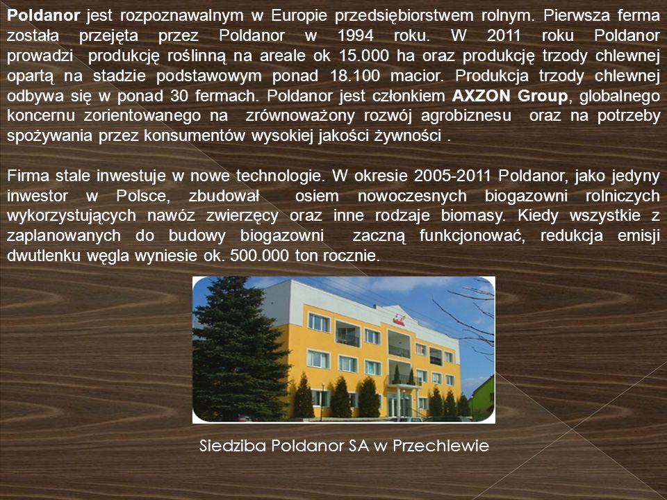 Poldanor jest rozpoznawalnym w Europie przedsiębiorstwem rolnym. Pierwsza ferma została przejęta przez Poldanor w 1994 roku. W 2011 roku Poldanor prow
