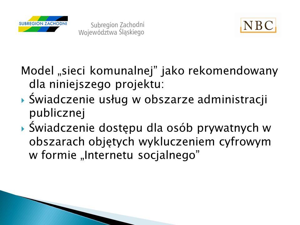 Model sieci komunalnej jako rekomendowany dla niniejszego projektu: Świadczenie usług w obszarze administracji publicznej Świadczenie dostępu dla osób prywatnych w obszarach objętych wykluczeniem cyfrowym w formie Internetu socjalnego