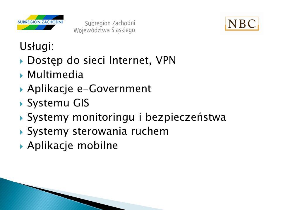 Usługi: Dostęp do sieci Internet, VPN Multimedia Aplikacje e-Government Systemu GIS Systemy monitoringu i bezpieczeństwa Systemy sterowania ruchem Aplikacje mobilne