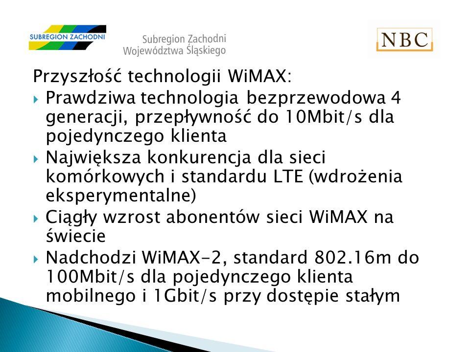 Przyszłość technologii WiMAX: Prawdziwa technologia bezprzewodowa 4 generacji, przepływność do 10Mbit/s dla pojedynczego klienta Największa konkurencja dla sieci komórkowych i standardu LTE (wdrożenia eksperymentalne) Ciągły wzrost abonentów sieci WiMAX na świecie Nadchodzi WiMAX-2, standard 802.16m do 100Mbit/s dla pojedynczego klienta mobilnego i 1Gbit/s przy dostępie stałym