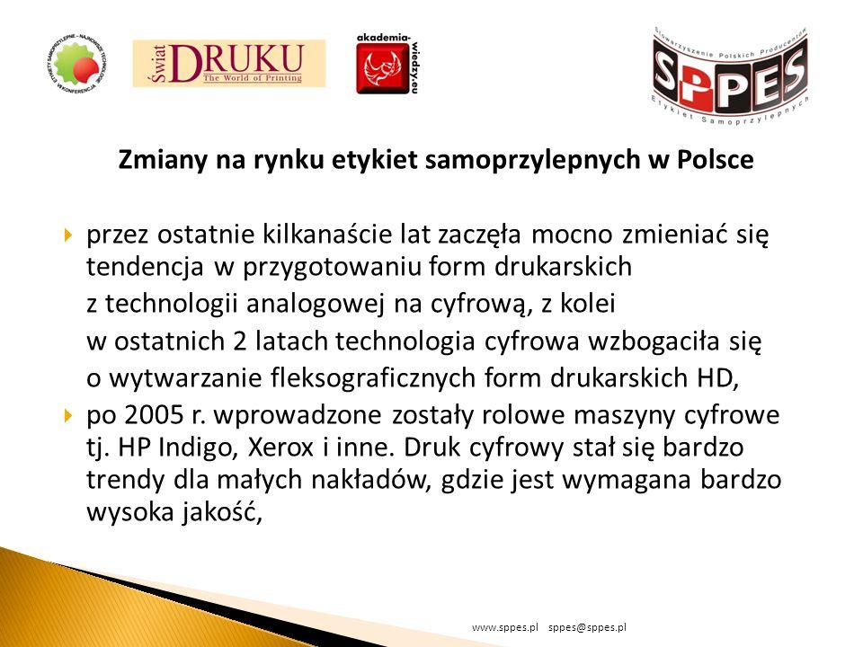 Zmiany na rynku etykiet samoprzylepnych w Polsce przez ostatnie kilkanaście lat zaczęła mocno zmieniać się tendencja w przygotowaniu form drukarskich z technologii analogowej na cyfrową, z kolei w ostatnich 2 latach technologia cyfrowa wzbogaciła się o wytwarzanie fleksograficznych form drukarskich HD, po 2005 r.