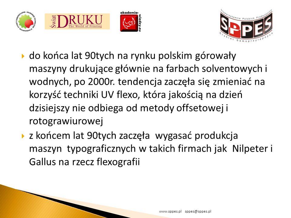 do końca lat 90tych na rynku polskim górowały maszyny drukujące głównie na farbach solventowych i wodnych, po 2000r. tendencja zaczęła się zmieniać na