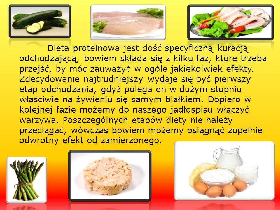Dieta proteinowa jest dość specyficzną kuracją odchudzającą, bowiem składa się z kilku faz, które trzeba przejść, by móc zauważyć w ogóle jakiekolwiek
