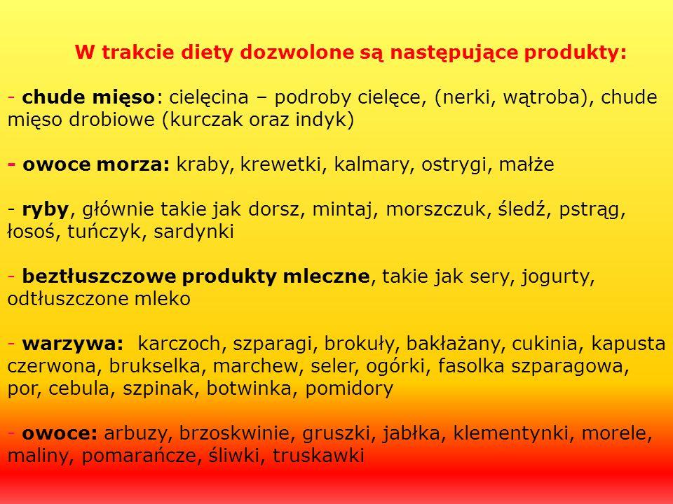 W trakcie diety dozwolone są następujące produkty: - chude mięso: cielęcina – podroby cielęce, (nerki, wątroba), chude mięso drobiowe (kurczak oraz in