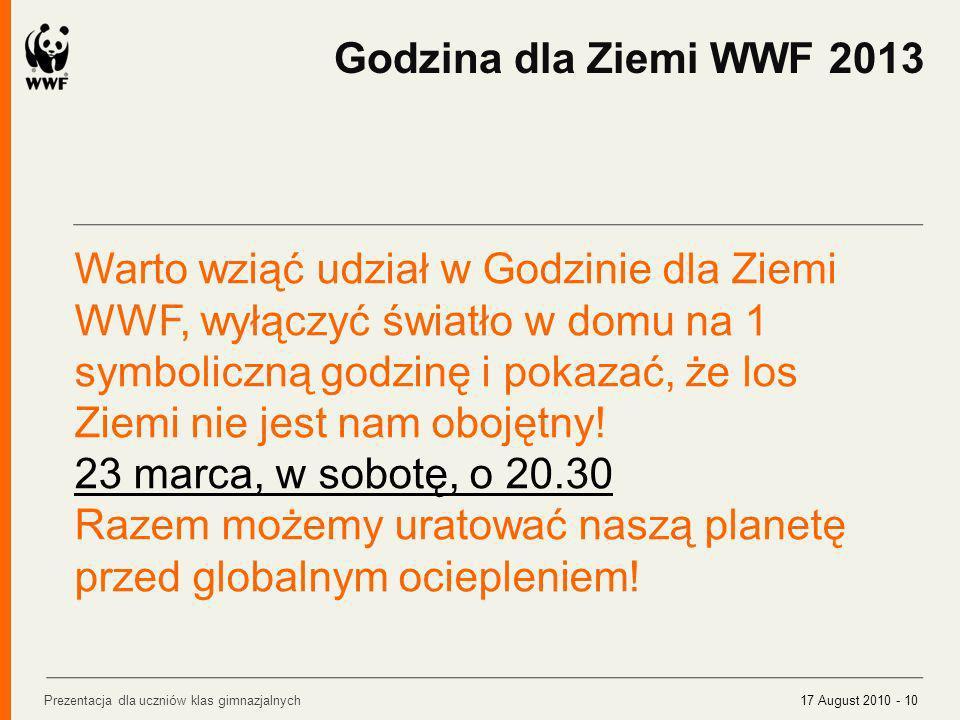 Warto wziąć udział w Godzinie dla Ziemi WWF, wyłączyć światło w domu na 1 symboliczną godzinę i pokazać, że los Ziemi nie jest nam obojętny! 23 marca,