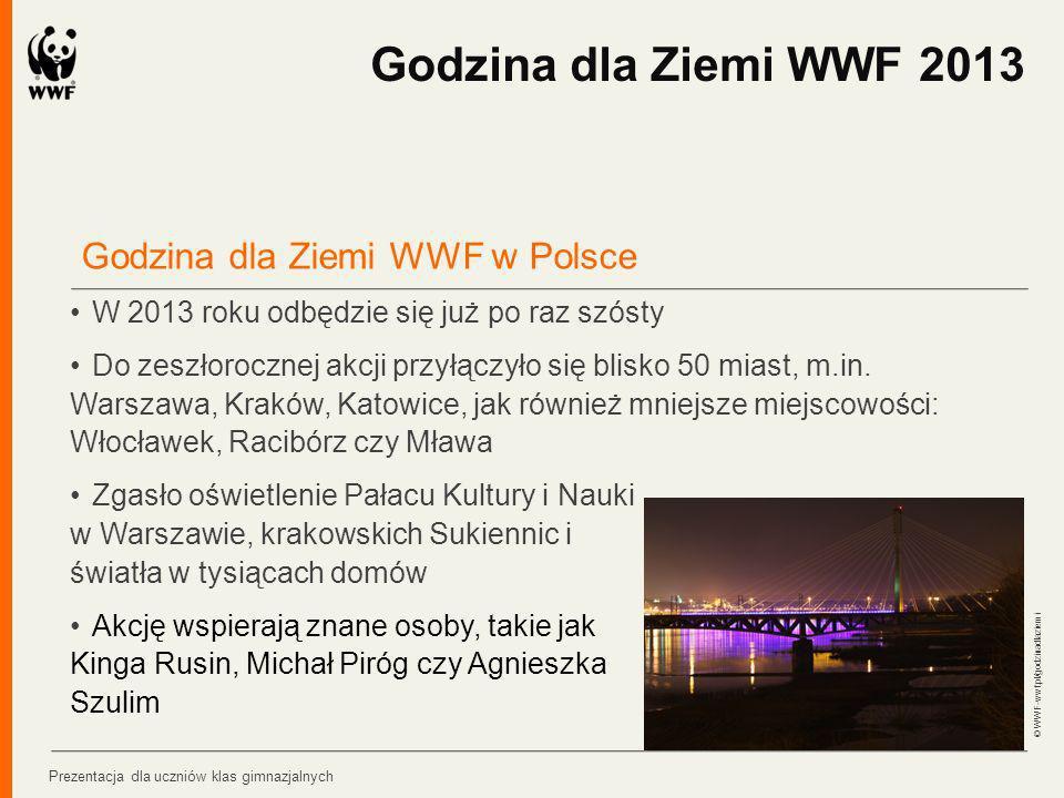 Godzina dla Ziemi WWF w Polsce W 2013 roku odbędzie się już po raz szósty Do zeszłorocznej akcji przyłączyło się blisko 50 miast, m.in. Warszawa, Krak