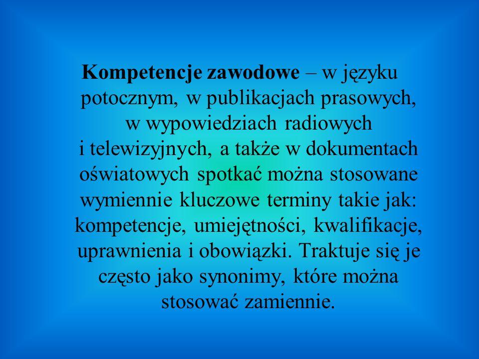 Kompetencje zawodowe – w języku potocznym, w publikacjach prasowych, w wypowiedziach radiowych i telewizyjnych, a także w dokumentach oświatowych spot