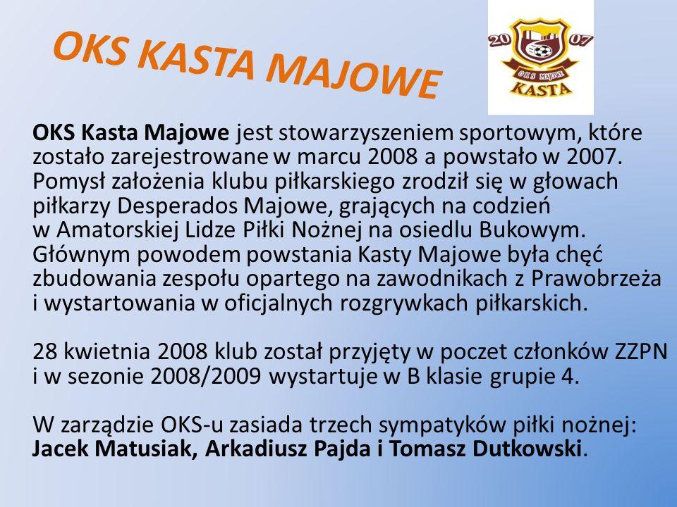 OKS KASTA MAJOWE OKS Kasta Majowe jest stowarzyszeniem sportowym, które zostało zarejestrowane w marcu 2008 a powstało w 2007. Pomysł założenia klubu