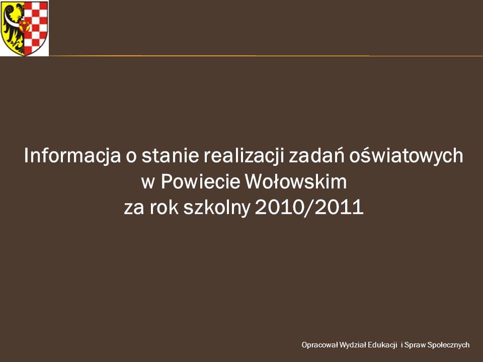 Informacja o stanie realizacji zadań oświatowych w Powiecie Wołowskim za rok szkolny 2010/2011 Opracował Wydział Edukacji i Spraw Społecznych