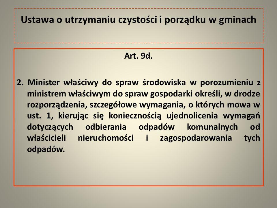 Ustawa o utrzymaniu czystości i porządku w gminach Art.