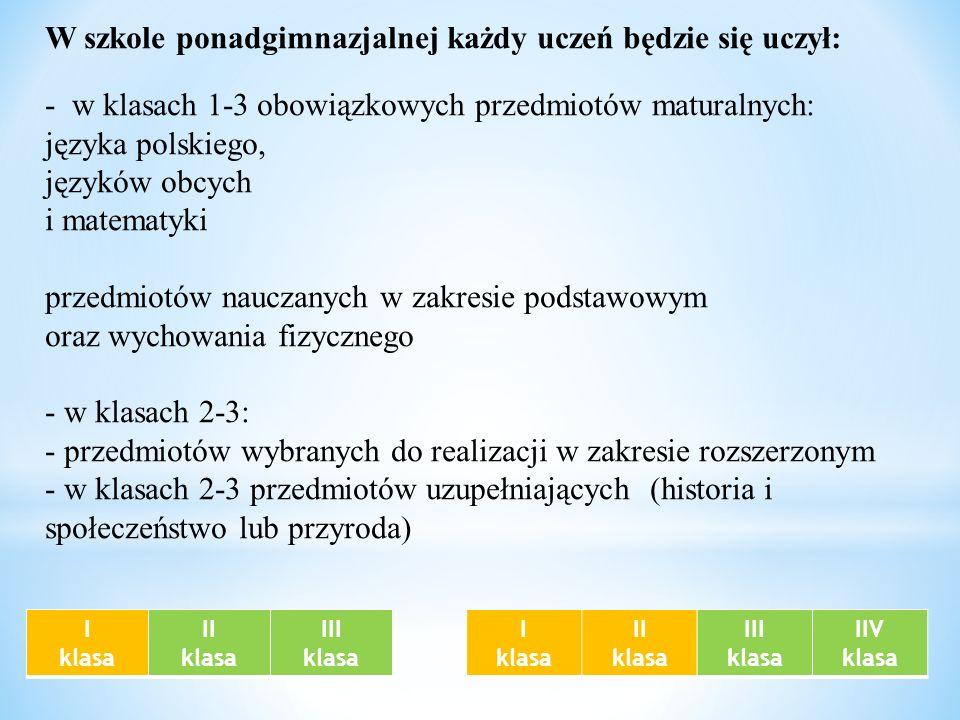 W szkole ponadgimnazjalnej każdy uczeń będzie się uczył: - w klasach 1-3 obowiązkowych przedmiotów maturalnych: języka polskiego, języków obcych i mat