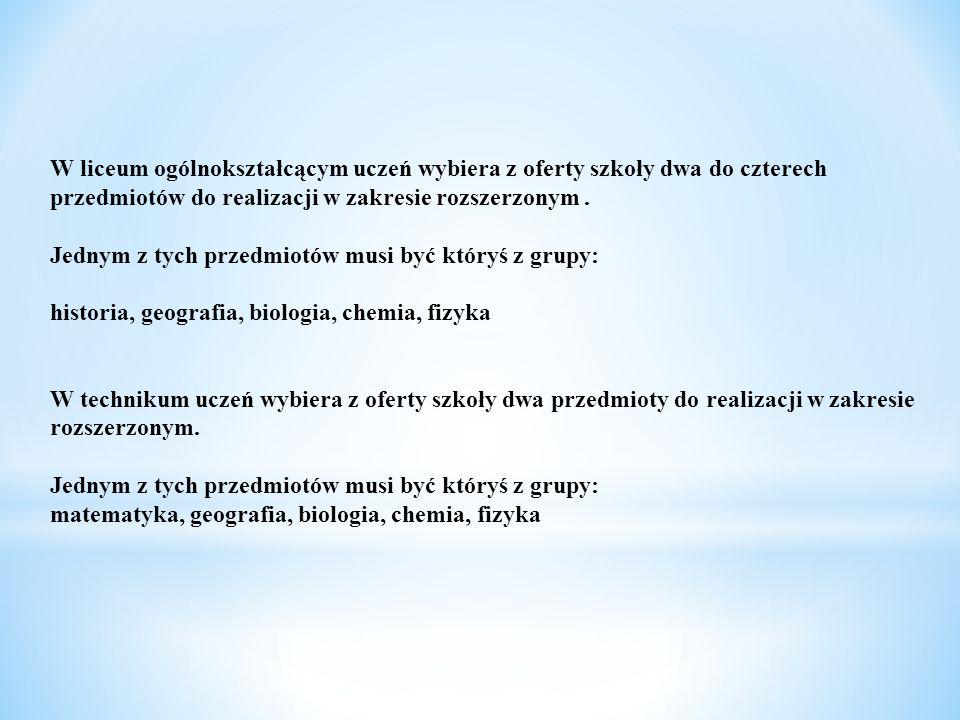 Klasa humanistyczna z historią przedmiotI klasaII klasaIII Klasa język polski677 język angielski333 język niemiecki2 22 matematyka3 43 wychowanie fizyczne3 33 l.